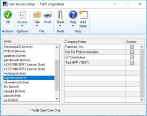 Dynamics GP User Setup