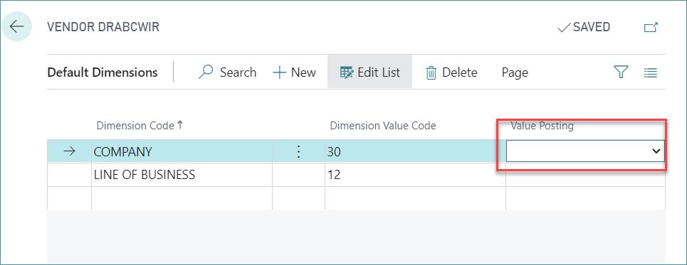 Default Dimensions to Vendor in D365