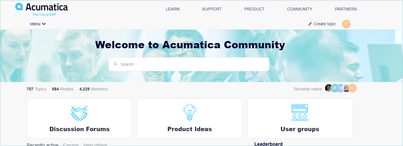 Acumatica Customer Community Website