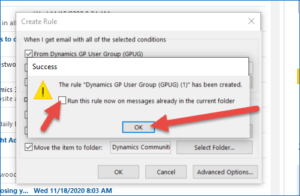 Setting up Microsoft Outlook Rules