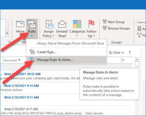 Email Forward Rule in Outlook