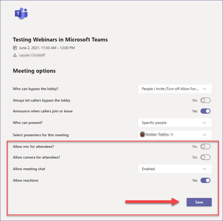 Webinars in Microsoft Teams