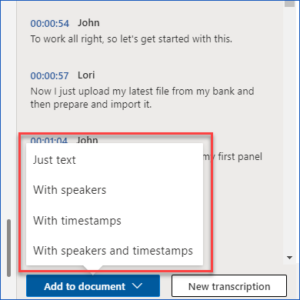 Transcribe Audio Files in Word